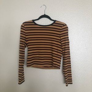 CROPPED MULTICOLOR STRIPED LONGSLEEVE